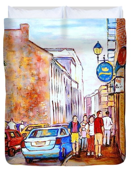Old Montreal Paintings Calvet House And Restaurants Duvet Cover by Carole Spandau