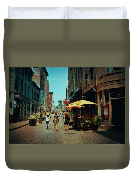 Old Montreal - Quebec Duvet Cover by Maria Angelica Maira