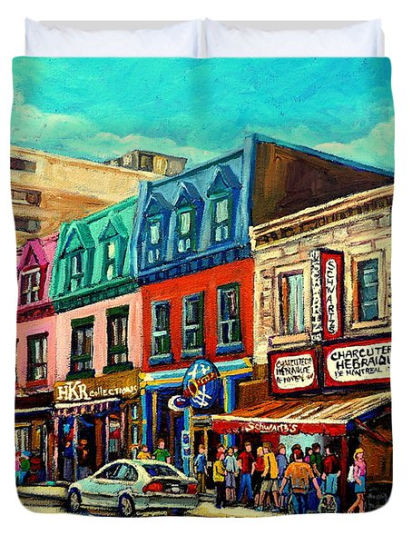 Old Montreal Schwartzs Deli Plateau Montreal City Scenes Duvet Cover by Carole Spandau