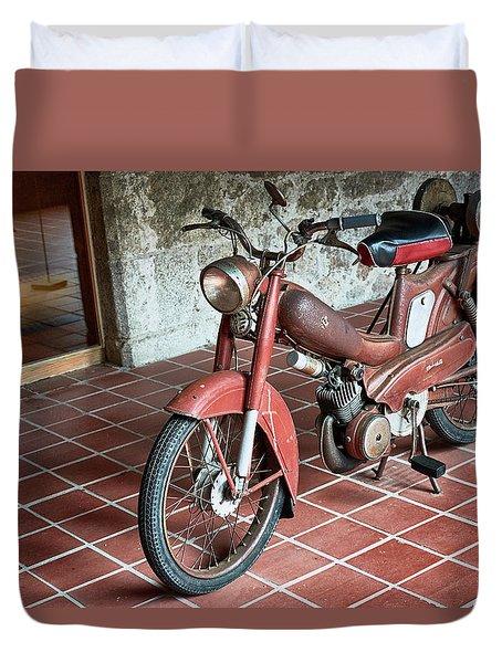 Duvet Cover featuring the photograph Old Motorcycle In The Monastery Of Santo Estevo De Ribas Del Sil by Eduardo Jose Accorinti