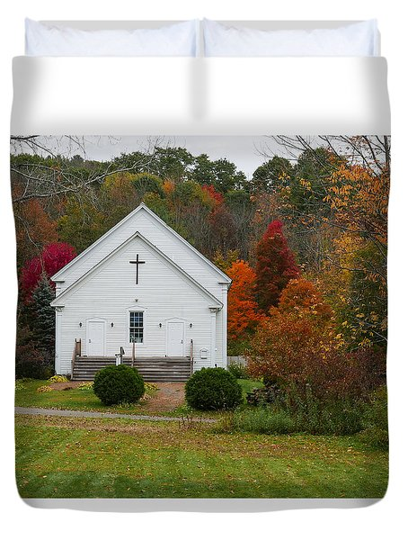 Old New England Church Duvet Cover