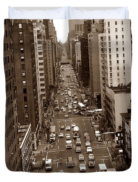 Old New York Photo - 10th Avenue Traffic Duvet Cover