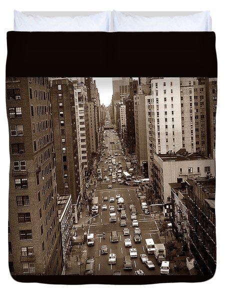 Old New York Photo - 10th Avenue Traffic Duvet Cover