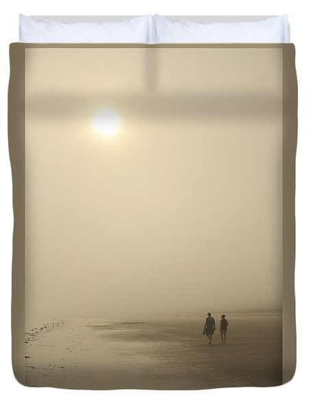 Old Orchard Beach Foggy Evening Duvet Cover