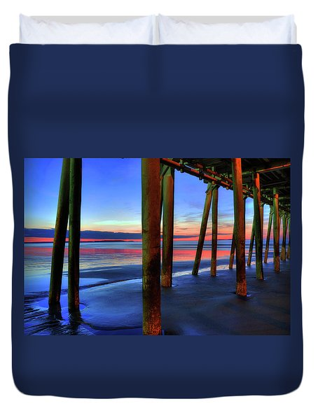 Duvet Cover featuring the photograph Old Orchard Beach Pier -maine Coastal Art by Joann Vitali