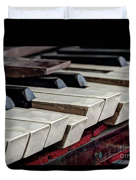 Duvet Cover featuring the photograph Old Organ Keys by Michal Boubin