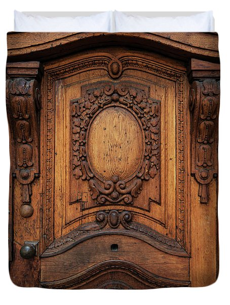 Old Ornamented Wooden Doors Duvet Cover by Jaroslaw Blaminsky