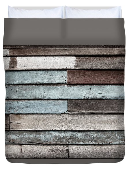 Old Pale Wood Wall Duvet Cover