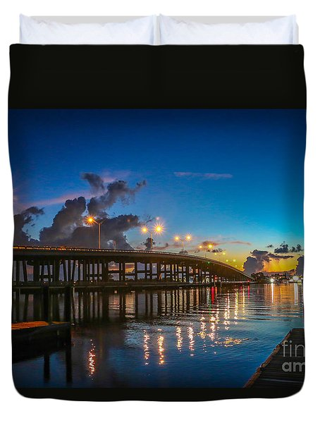 Old Palm City Bridge Duvet Cover