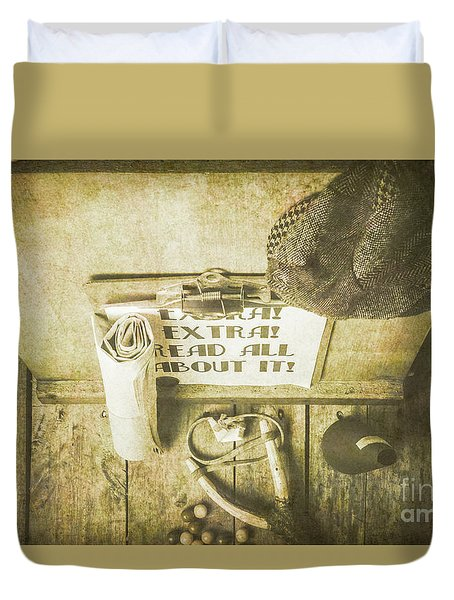 Old Paper Boy News Stand Duvet Cover