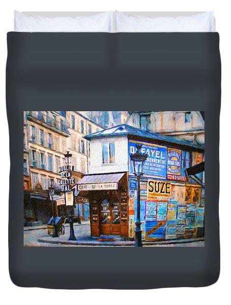 Old Paris Cafe Duvet Cover