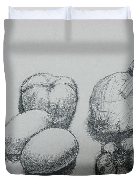 Old Pencil Drawing For Still Life Duvet Cover