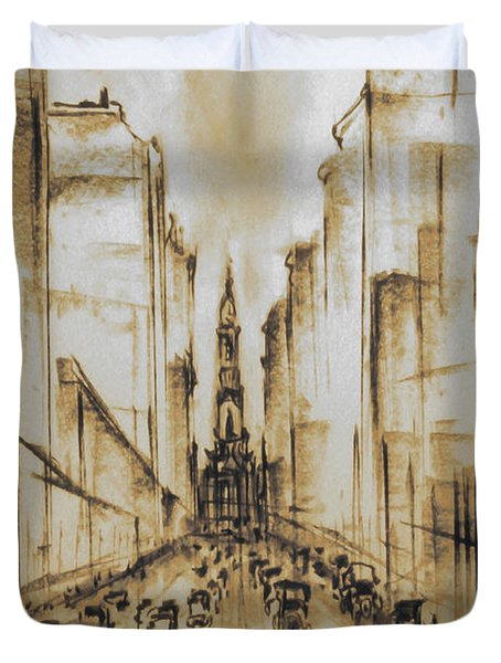 Old Philadelphia City Hall 1920 - Vintage Art Duvet Cover