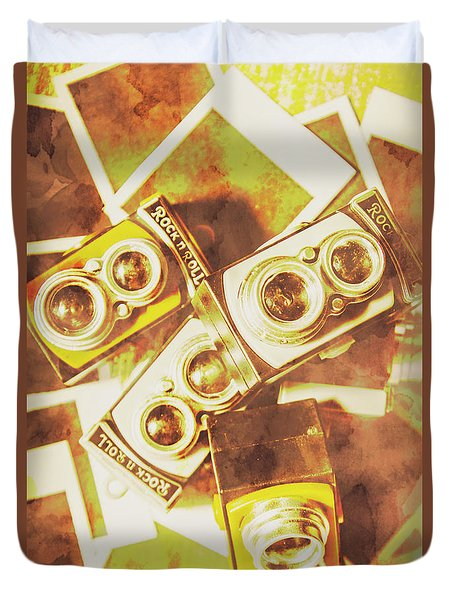 Old Photo Cameras Duvet Cover