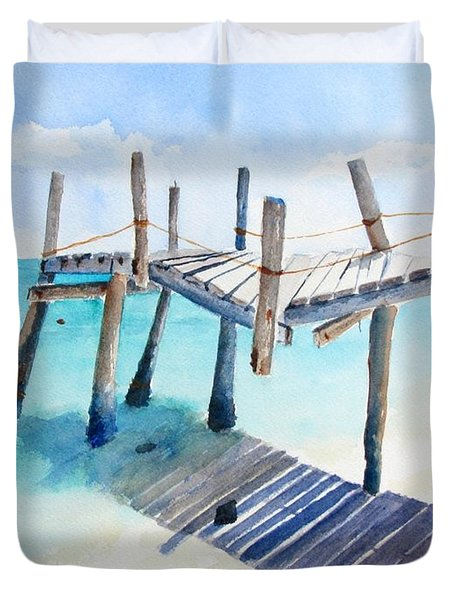 Old Pier On Playa Paraiso Duvet Cover