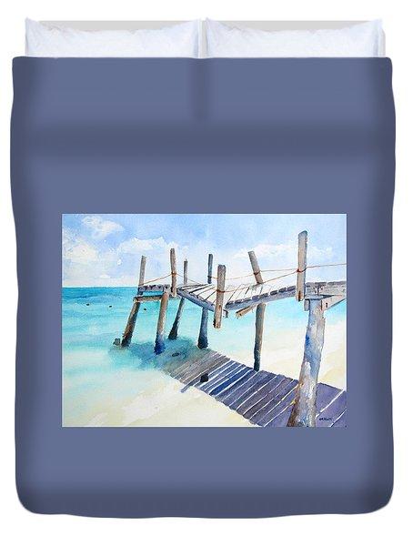 Old Pier On Playa Paraiso Duvet Cover