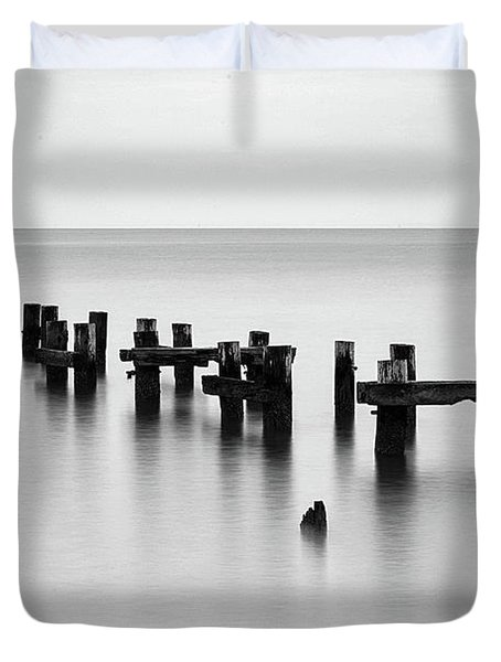 Old Pilings Black And White Duvet Cover