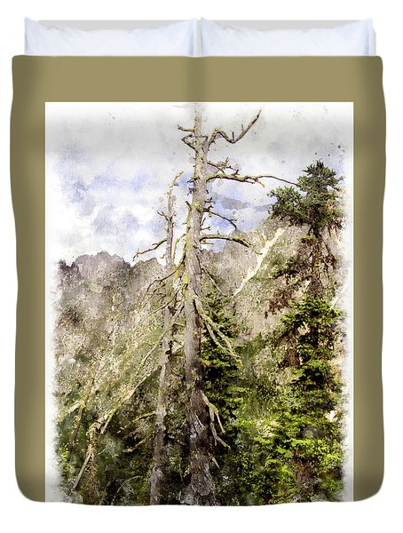 Old Pines Cascades Wc Duvet Cover by Peter J Sucy