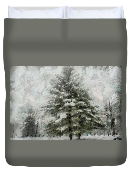 Duvet Cover featuring the mixed media Old Piney by Trish Tritz
