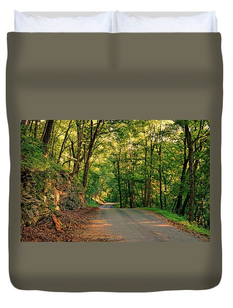 Duvet Cover featuring the photograph Old Plank Road by Cricket Hackmann
