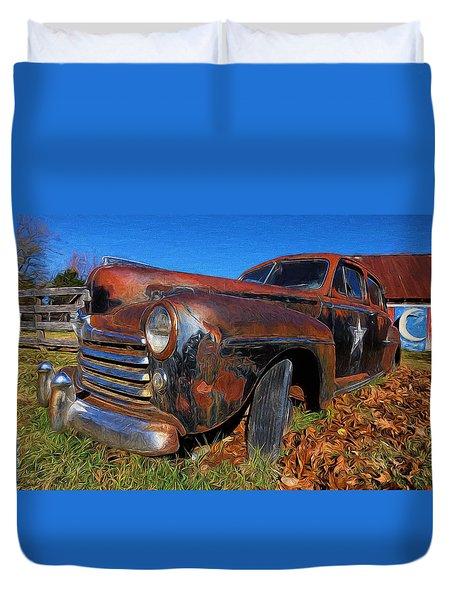Old Police Car Duvet Cover
