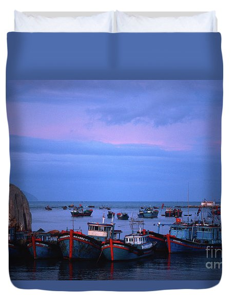 Old Port Of Nha Trang In Vietnam Duvet Cover