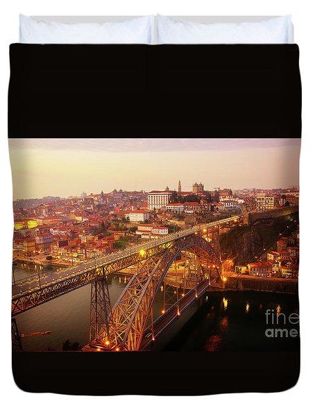 old Porto at  Pink Sunset, Portugal Duvet Cover
