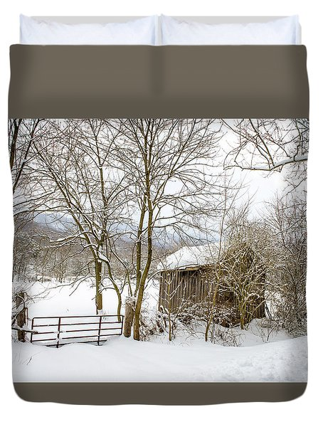 Old Post Office In Snow Duvet Cover