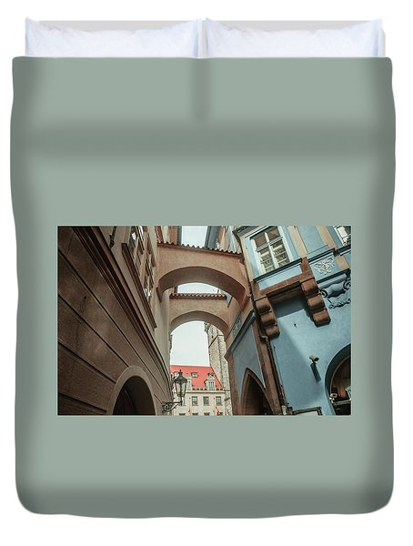 Duvet Cover featuring the photograph Old Prague Architecture 1 by Jenny Rainbow