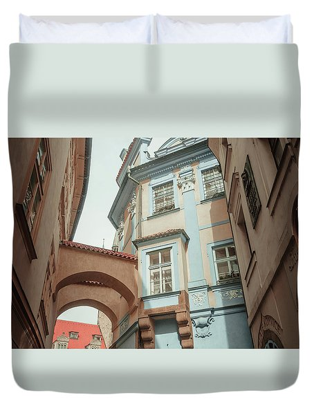 Duvet Cover featuring the photograph Old Prague Architecture by Jenny Rainbow