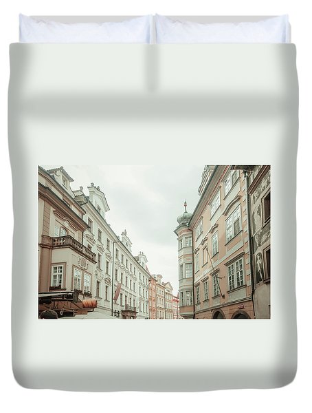 Duvet Cover featuring the photograph Old Prague Buildings. Staromestska Square by Jenny Rainbow