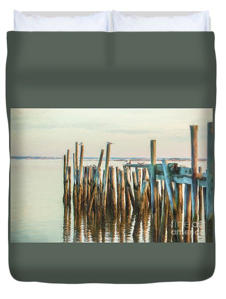 Old Provincetown Wharf Duvet Cover