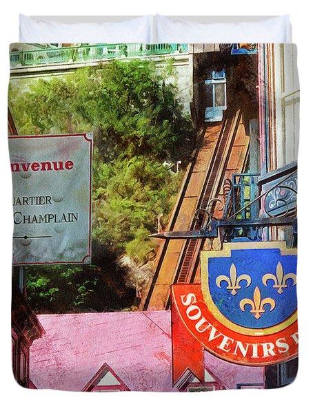Old Quebec City Funicular Duvet Cover