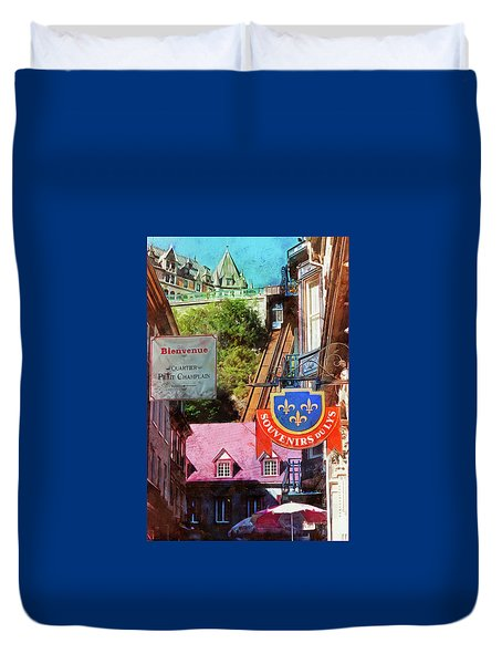 Old Quebec City Funicular Duvet Cover