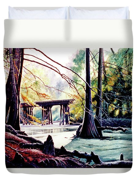 Old Railroad Bridge Duvet Cover