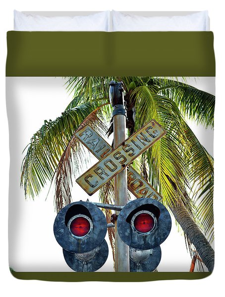 Old Railroad Crossing Sign Duvet Cover