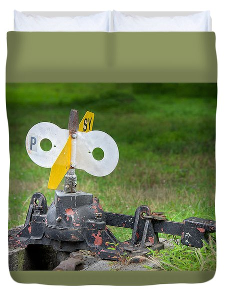 Duvet Cover featuring the photograph Old Railroad Switch In The Grass by Gary Slawsky