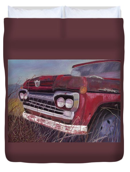 Old Red Duvet Cover by Arlene Crafton