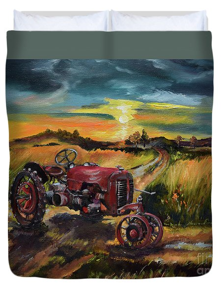 Duvet Cover featuring the painting Old Red At Sunset - Tractor by Jan Dappen