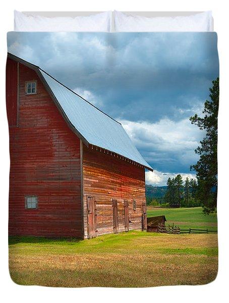 Old Red Big Sky Barn  Duvet Cover by Sandra Bronstein