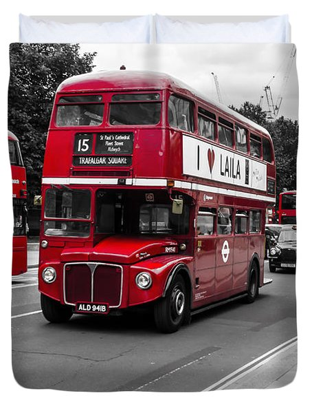 Old Red Bus Bw Duvet Cover