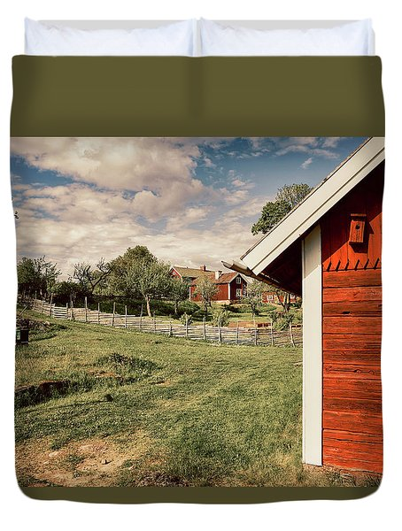 Old Red Farm Set In A Rural Nature Landscape Duvet Cover by Christian Lagereek