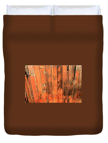 Old Red Fence Duvet Cover