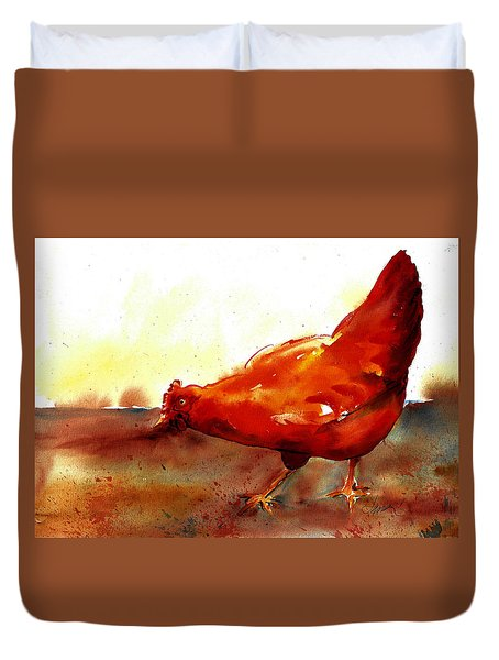 Picking With The Chickens Duvet Cover