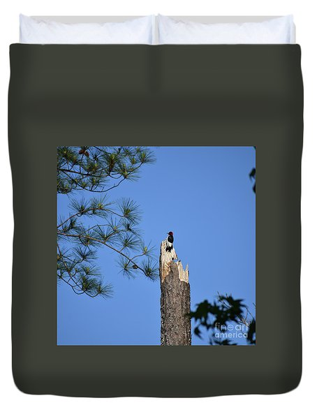 Duvet Cover featuring the photograph Old Red by Skip Willits