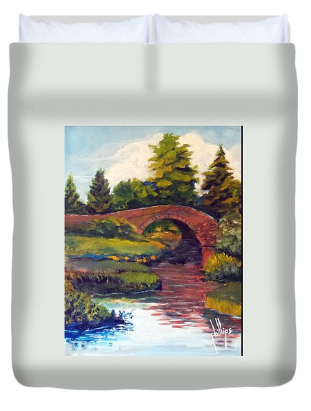 Old Red Stone Bridge Duvet Cover