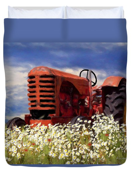 Old Red Tractor Duvet Cover