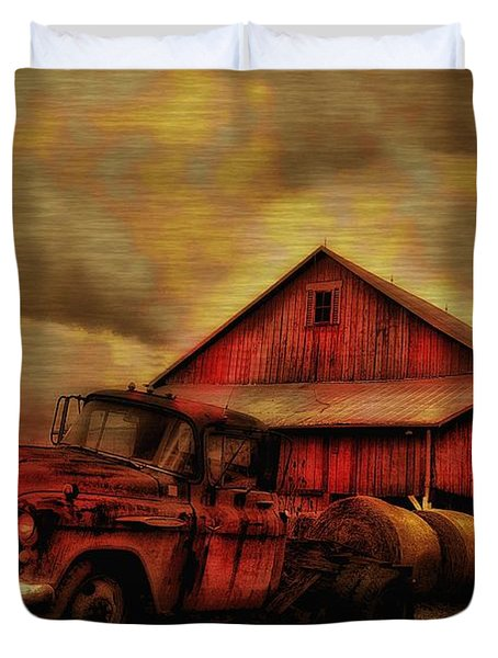 Old Red Truck And Barn Duvet Cover by Bill Cannon