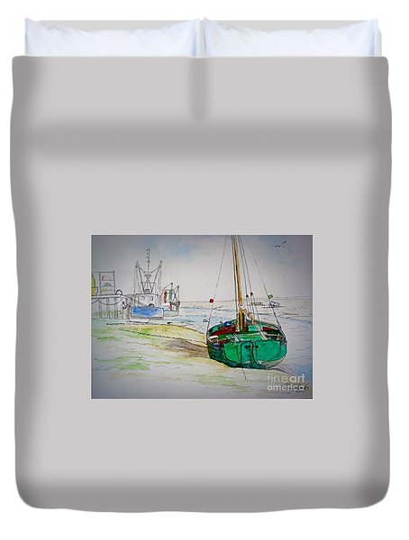 Old River Thames Fishing Boat Duvet Cover