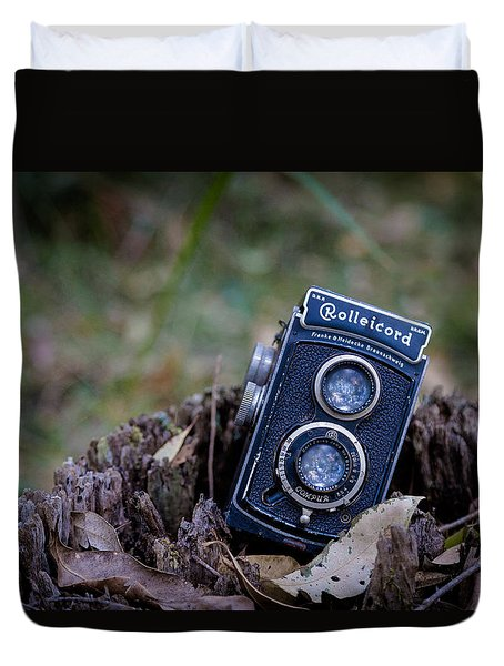 Duvet Cover featuring the photograph Old Rollei by Keith Hawley